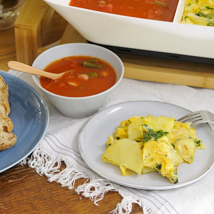 野菜スープ&スパニッシュオムレツ