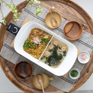 そばめしと海鮮わかめスープ