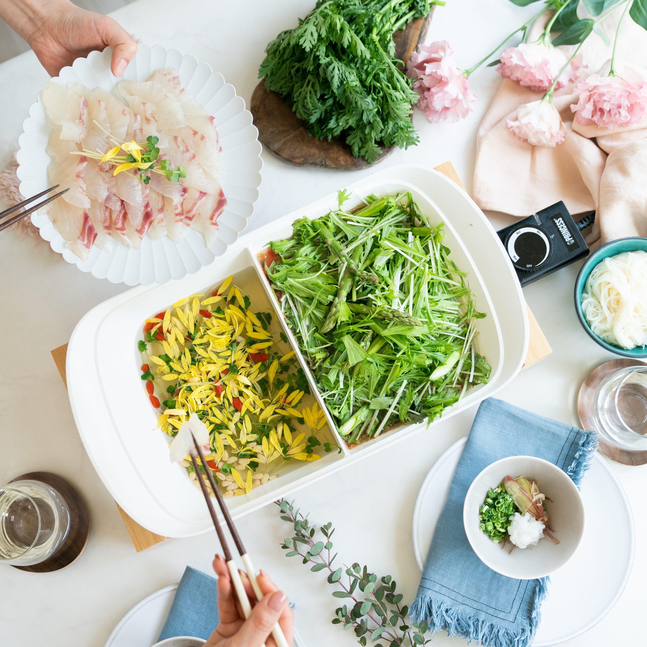2色春鍋(鯛しゃぶ&緑の野菜しゃぶ)