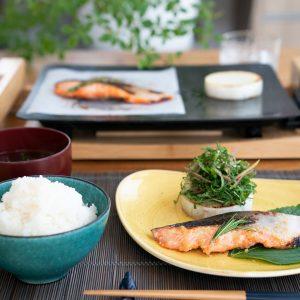 鮭の香草味噌焼きと大根のステーキ